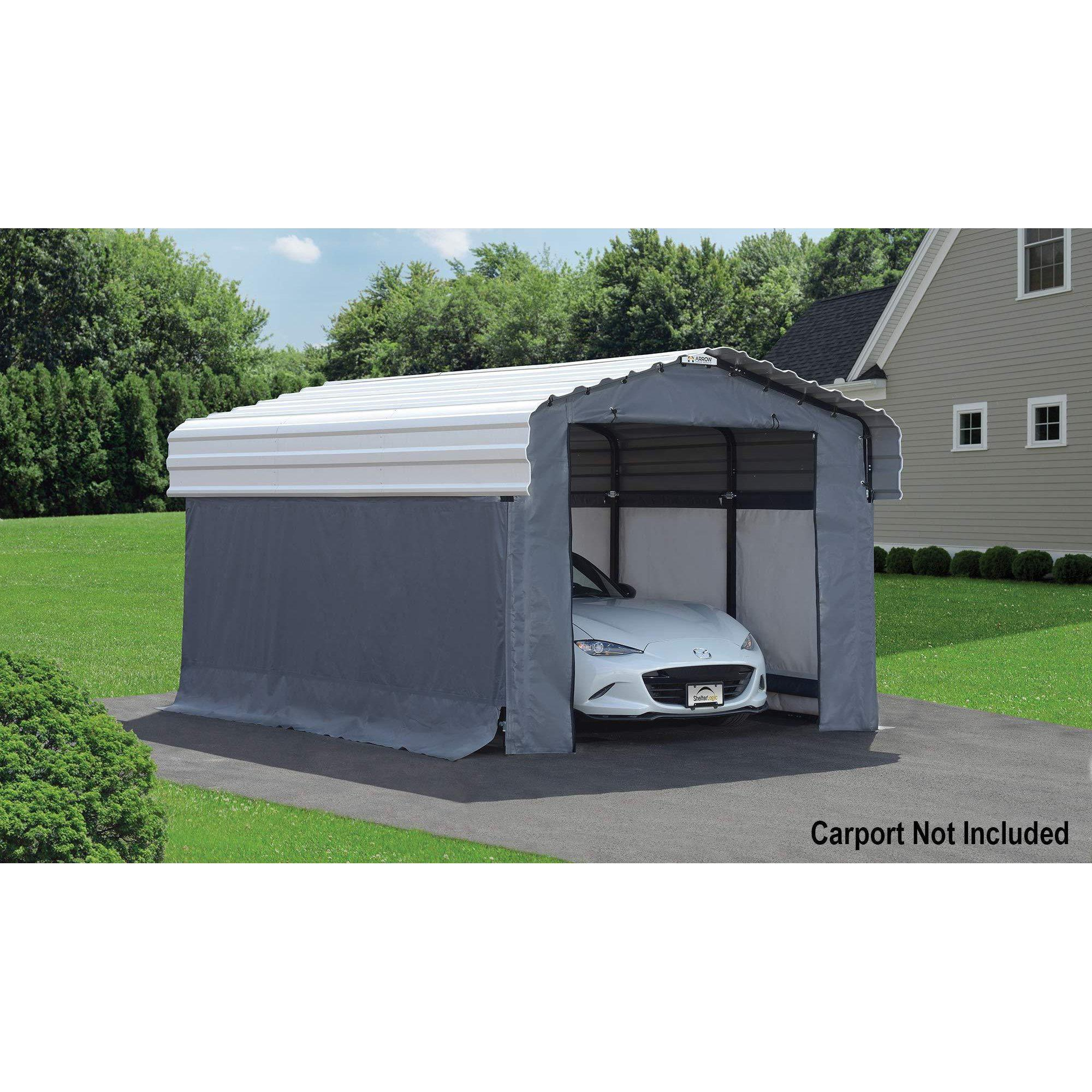 Arrow Fabric Enclosure Kit with UV Treated Cover for 10 x 15-Feet Carports, 10' x 15'