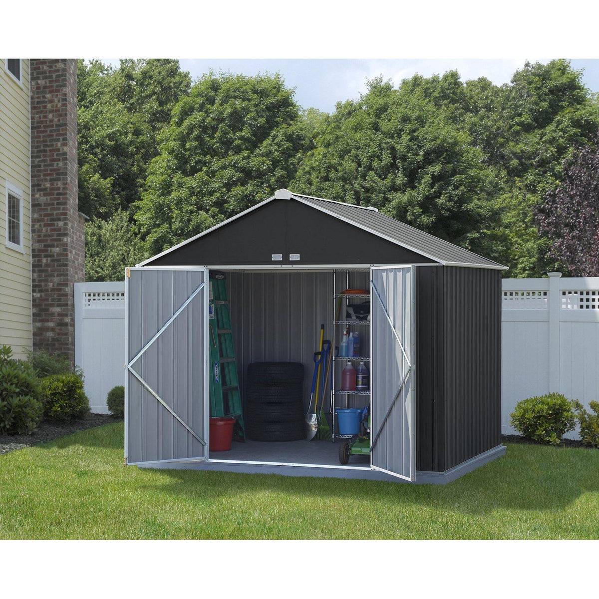 Arrow EZEE Shed Extra High Gable Steel Storage Shed, Charcoal/Cream Trim, 10 x 8 ft.