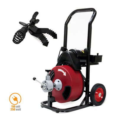 "Commercial Electric Power Sewer Snake Drain Cleaner Auger 50 FT x 1/2"" W/ 4 Cutter & Foot Switch"