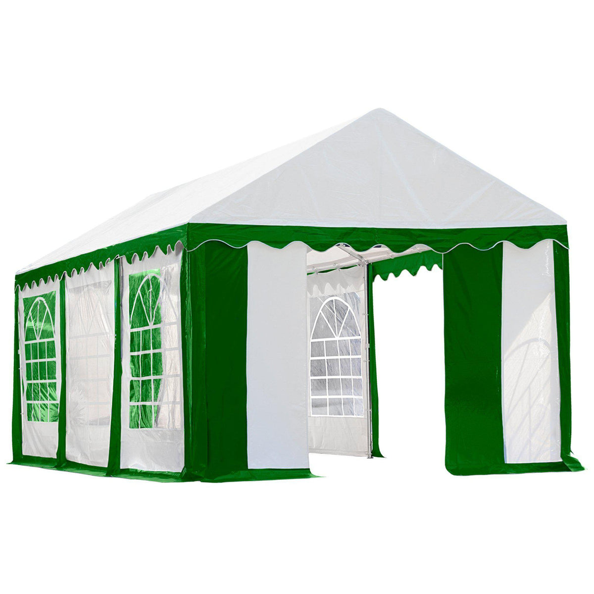 ShelterLogic Enclosure Kit with Windows, Green/White, 10 x 20 ft. (Party Tent Cover and Frame Sold Separately)