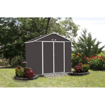 Arrow EZEE Shed High Gable Steel Storage Shed, Charcoal/Cream Trim, 8 x 7 ft.