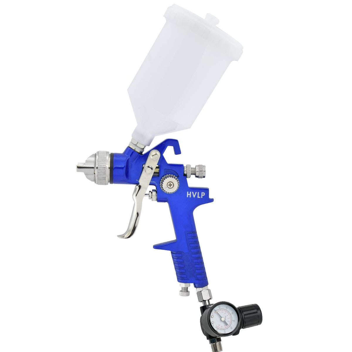 HVLP Gravity Feed Air Spray Gun with Gauge, 1.7mm Nozzle Size, 600cc Plastic Cup