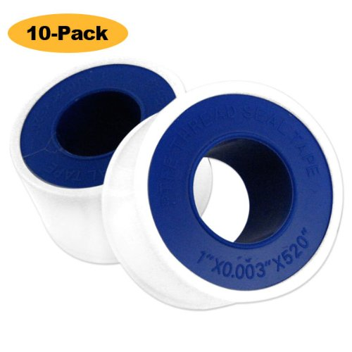 "10-Pack 1"" x 520"" x 0.003-inch (thickness) Teflon Pipe Thread Seal Tape"