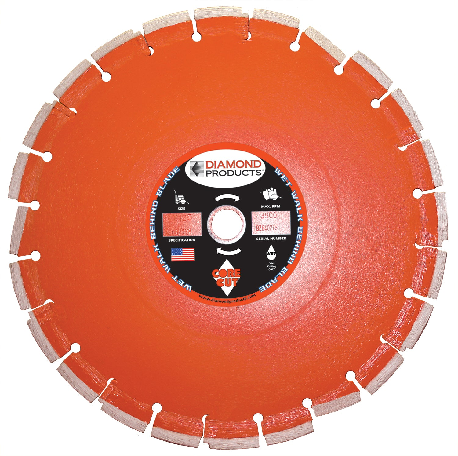 "14"" x .125 x 1""Heavy Duty Orange Wet Cutting Walk Behind Saw Blade"