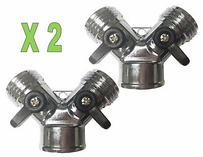 "2 pcs  2 Way Zinc ""Y"" Connectors W/Shut Off Valve Repair Garden Lawn Hose"