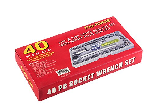 "1/4""& 3/8"" Drive 40 Piece Socket Wrench Set WITH SPARK PLUG SOCKET"