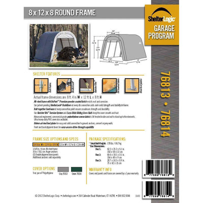 ShelterLogic 76813 Grey 8'x12'x8' Round Style Shelter
