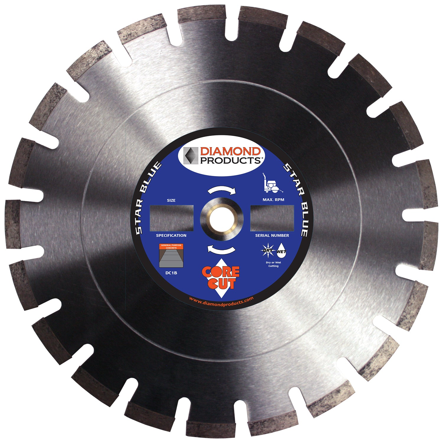 "14"" x .125 x 1"" Star Blue Dry Cutting Walk Behind Saw Blade"