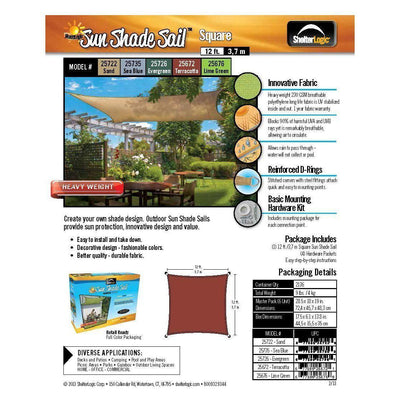 ShelterLogic 25722 12'x12' Square Sand Sun Shade Sail