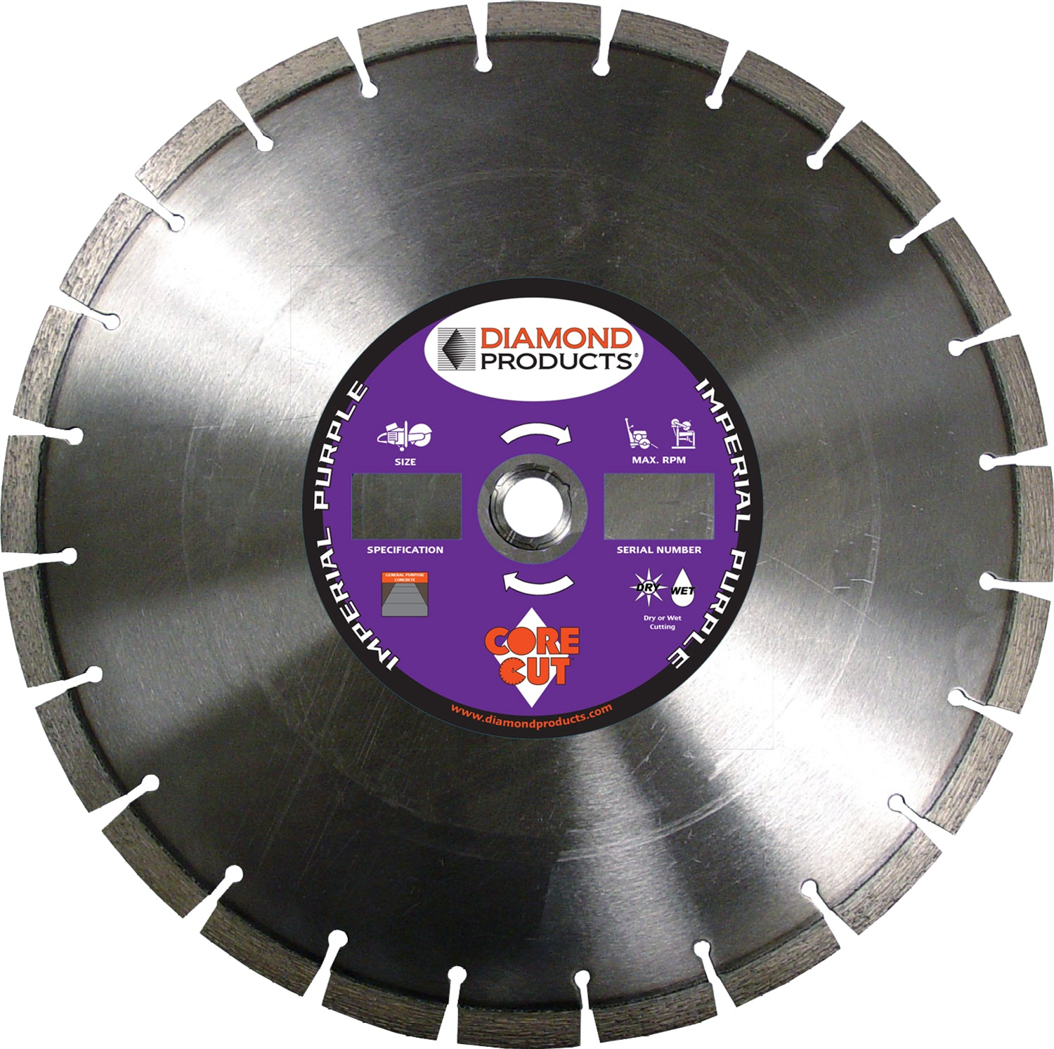 "16"" x .125 x UNV Imperial Purple High Speed Blade with 1"" and 20mm universal arbor"