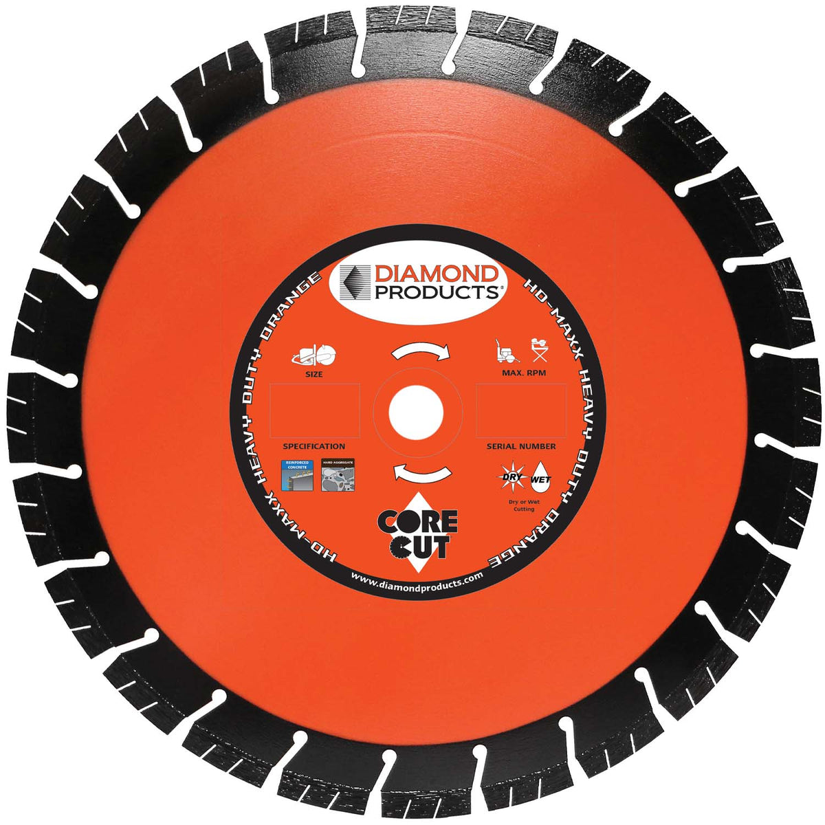 "14"" x .125 x UNV Heavy Duty Orange MAXX High Speed Blade with 1"" and 20mm universal arbor"