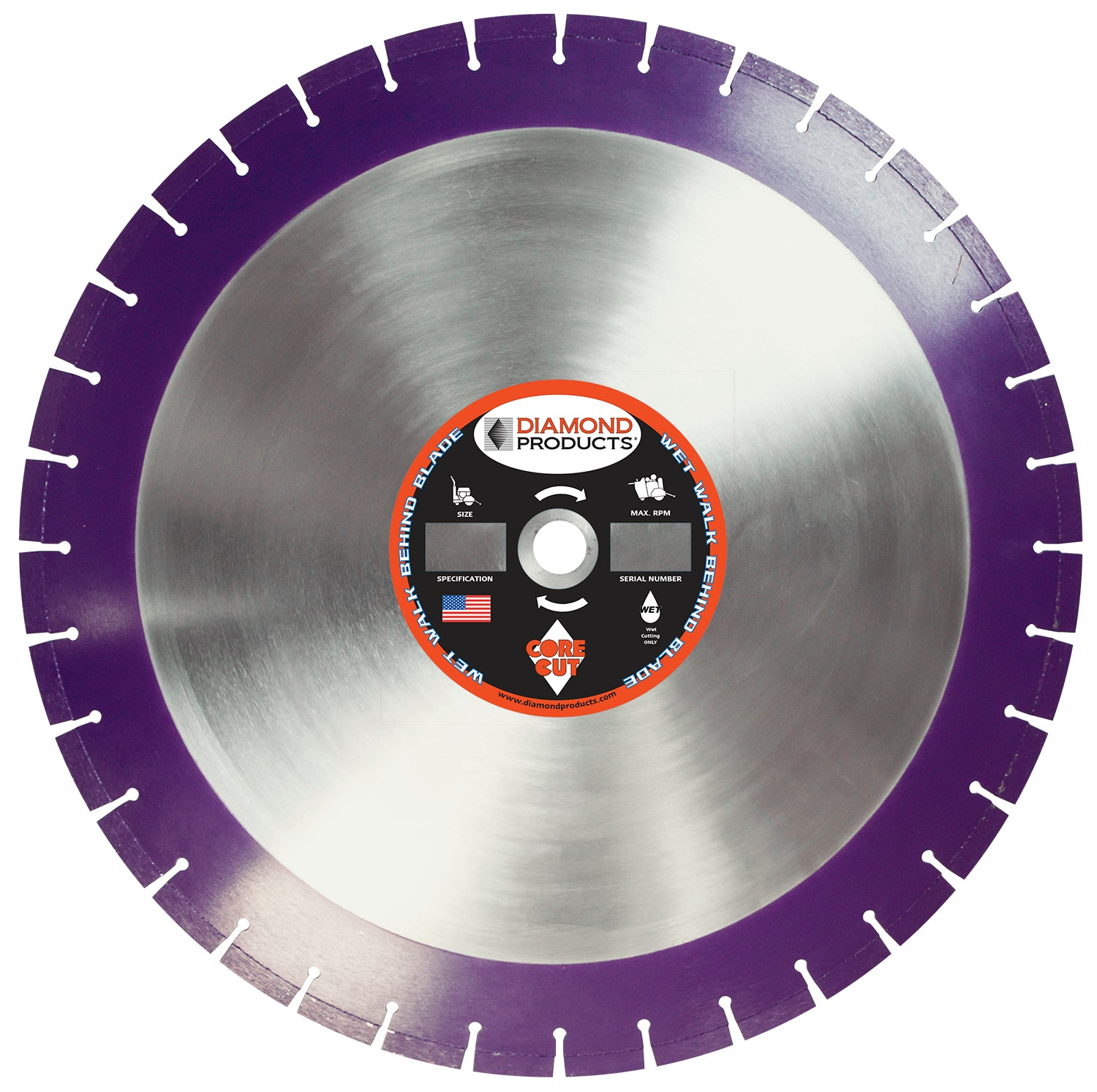 "18"" x .125"" x 1"" Imperial Purple Wet Cutting Walk Behind Saw Blade"