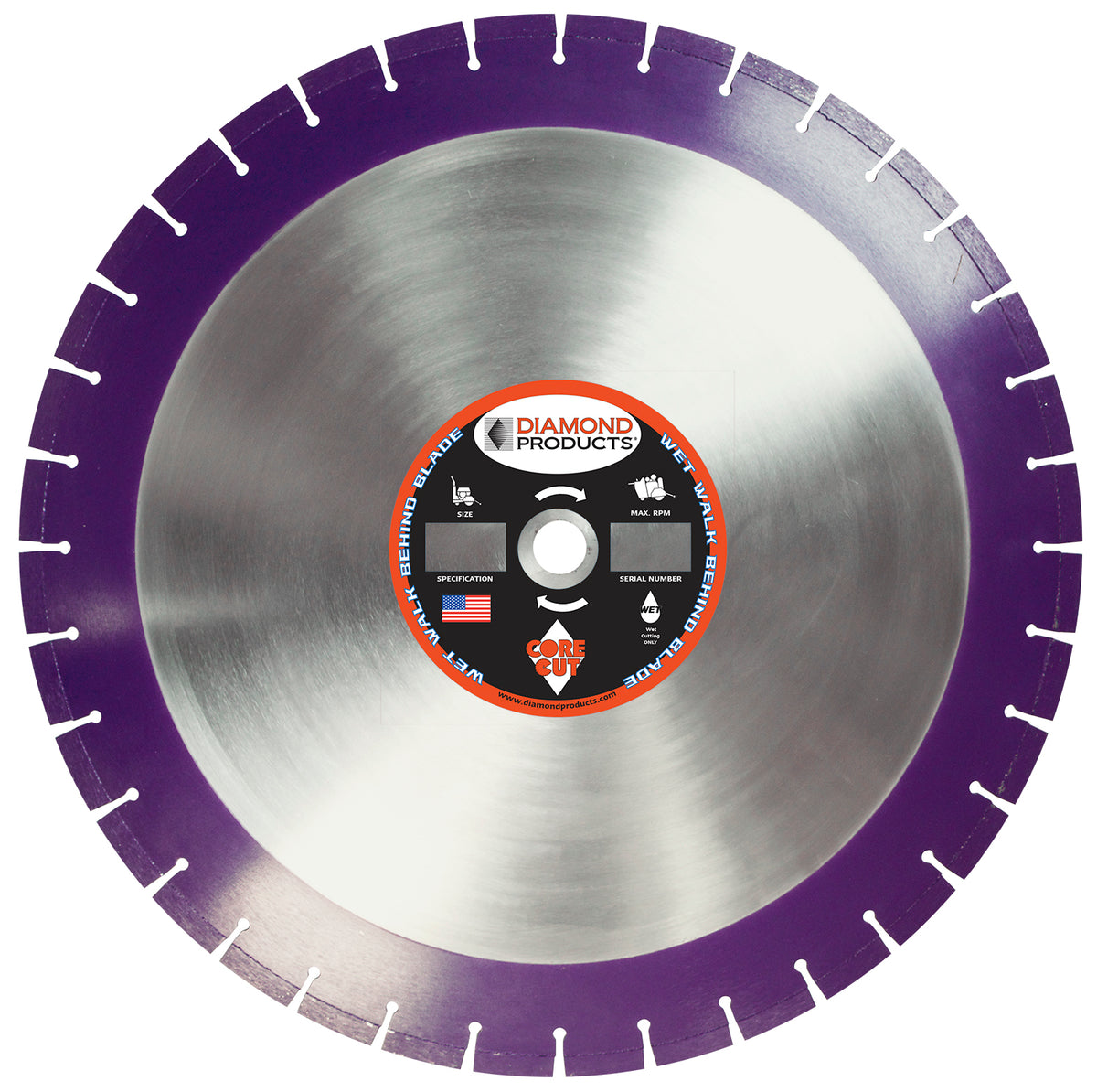 "14"" x .125"" x 1"" Imperial Purple Wet Cutting Walk Behind Saw Blade"