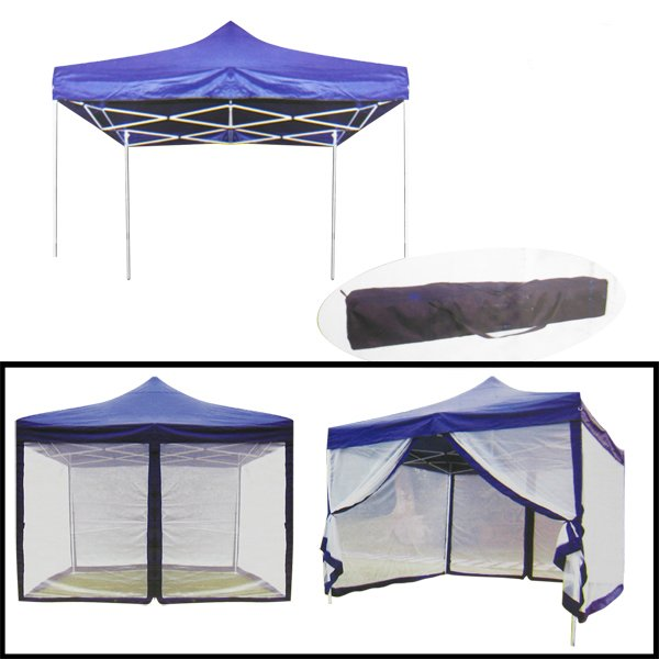 10 X 10 Blue Foldable and Portable Canopy With Mosquito Net