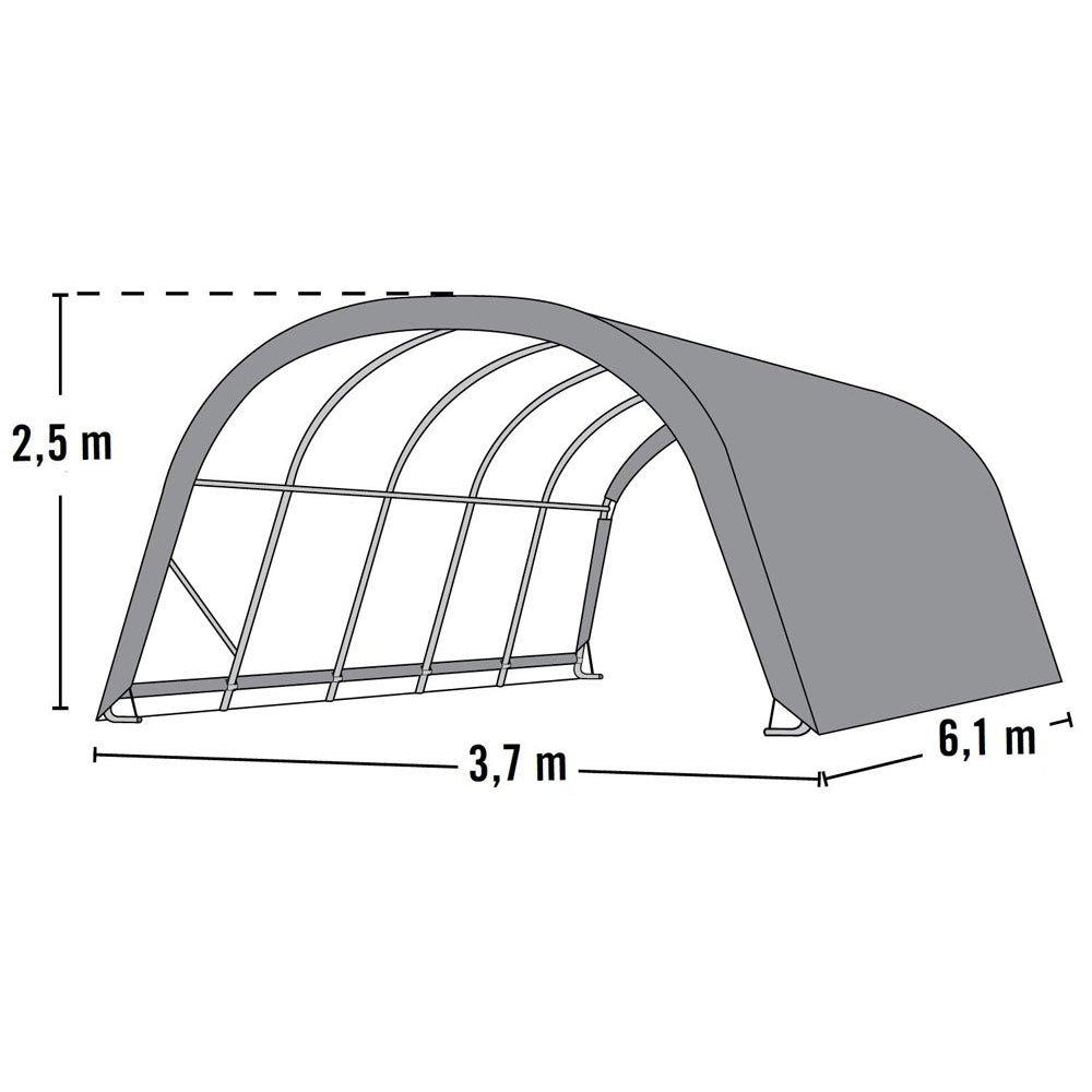 ShelterLogic Round Style Run-In Shelter, Green, 12 x 20 x 8 ft.
