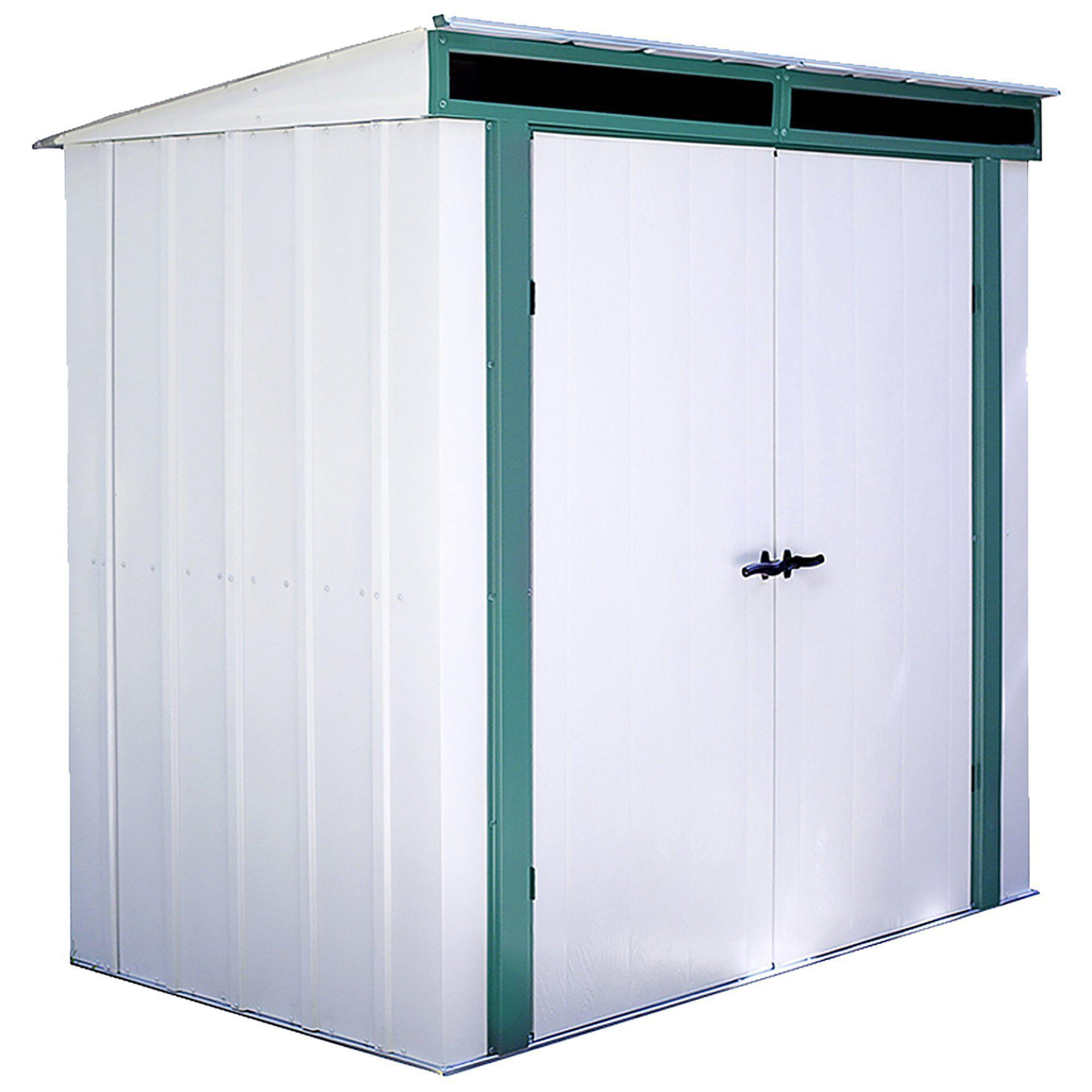 Arrow Euro-Lite Steel Storage Pent Shed, Green/Eggshell, 6 x 4 ft.