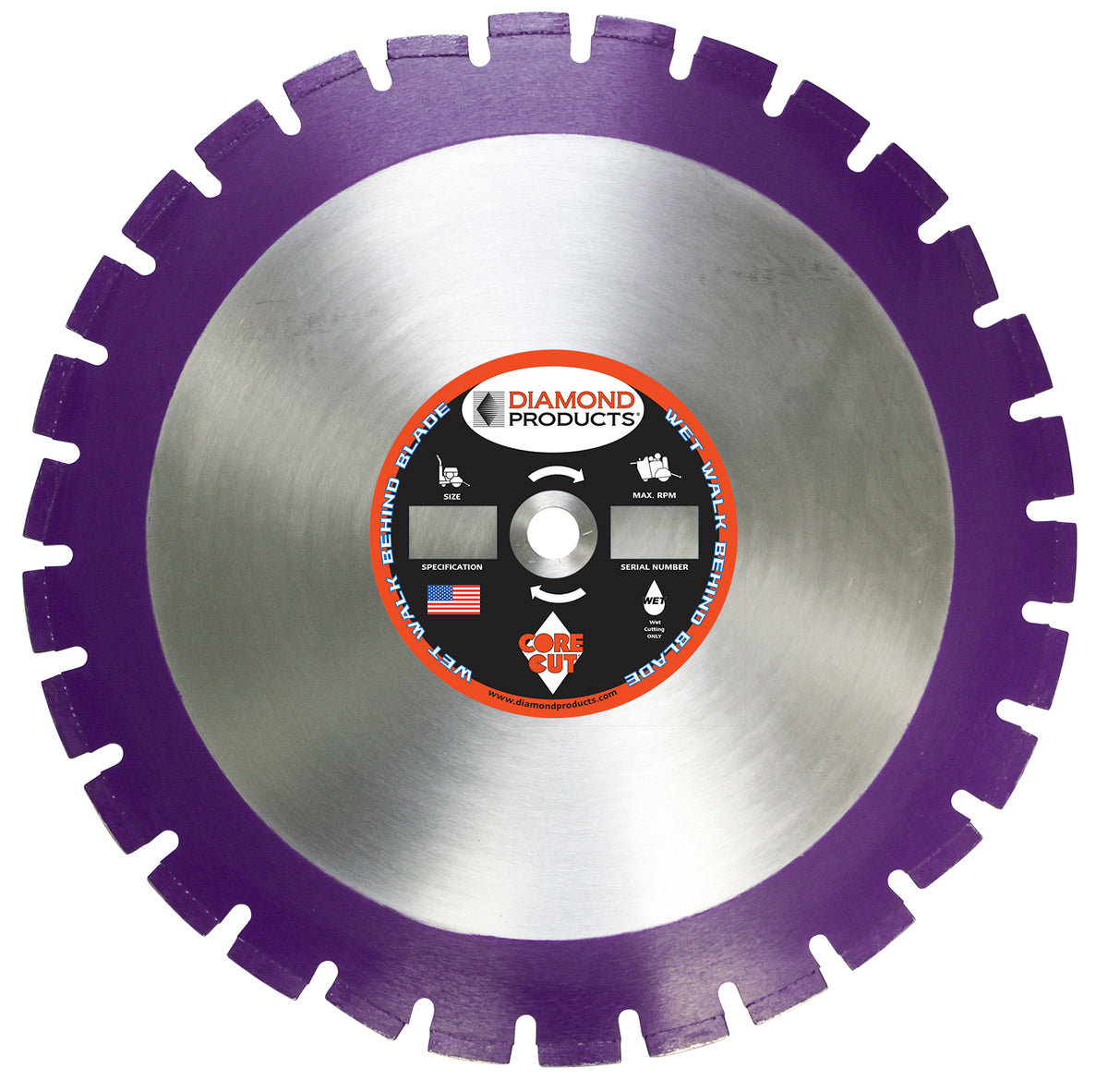 "24"" x .155"" x 1"" Imperial Purple Wet Cutting Walk Behind Saw Blade"