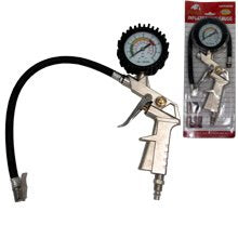 "Pistol Grip Air Tire Inflator pump 12""  W/ Dial Gauge 0-10 Bar/0-140 Psi nozzle grip"