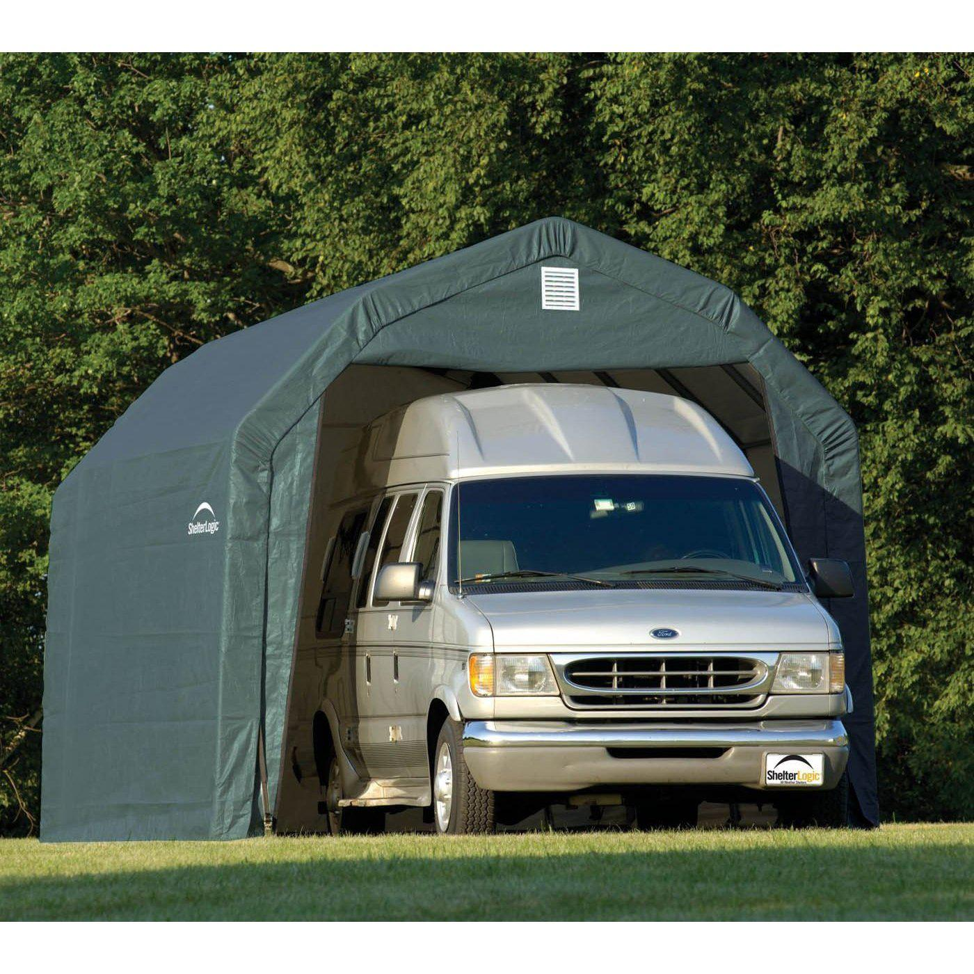 Barn 12 Ft. W x 28 Ft. D Shelter Color: Green, Height: 9'