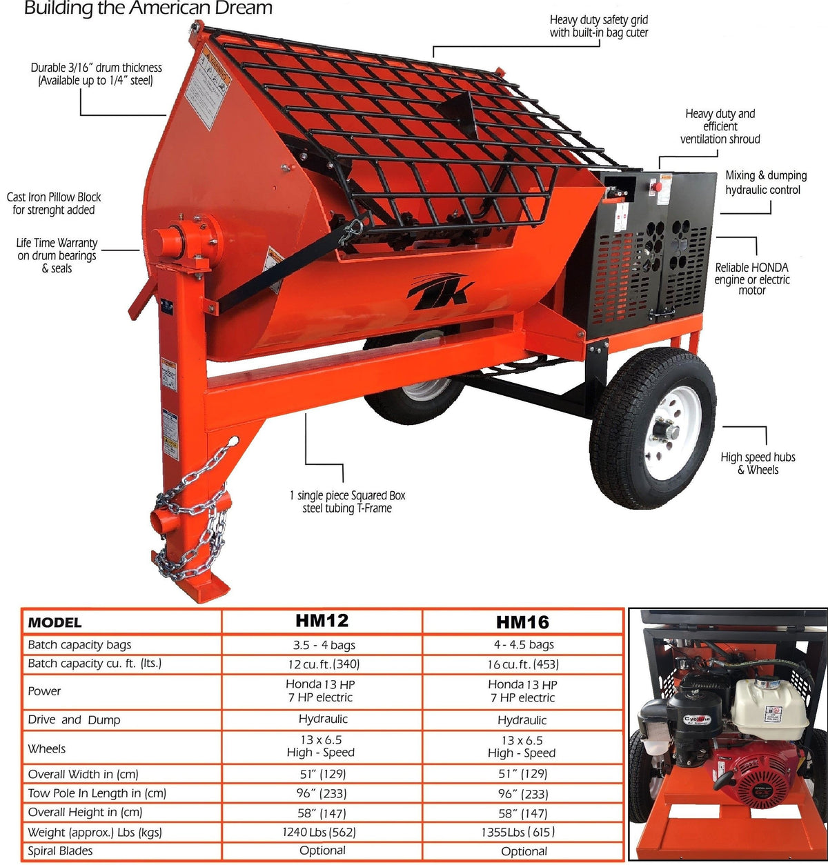 16 cu ft.Hydraulic Towable Steel Drum Concrete Cement Mortar Plaster Mixer W/ Honda GX390 Engine