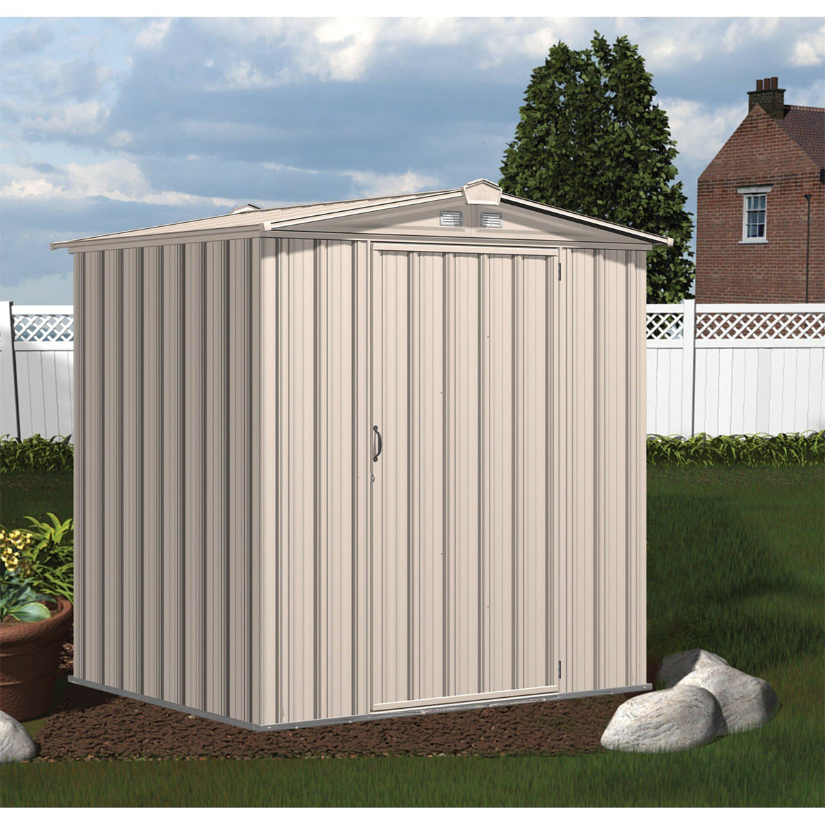 Arrow EZEE Shed Low Gable Steel Storage Shed, Cream, 6 x 5 ft.