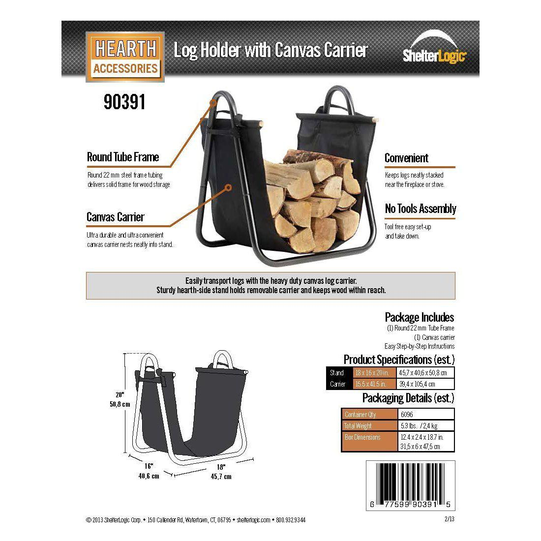 ShelterLogic Firewood Log Holder with Canvas Carrier, Black