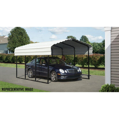 Arrow CPH102007 Steel Carport ft. Galvanized, 10 x 20 x 7', Black/Eggshell