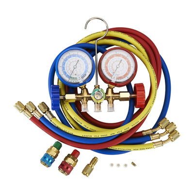 5FT AC Diagnostic Manifold Freon Gauge Set for R134A R12, R22, R502 Refrigerants, with Couplers and ACME Adapter