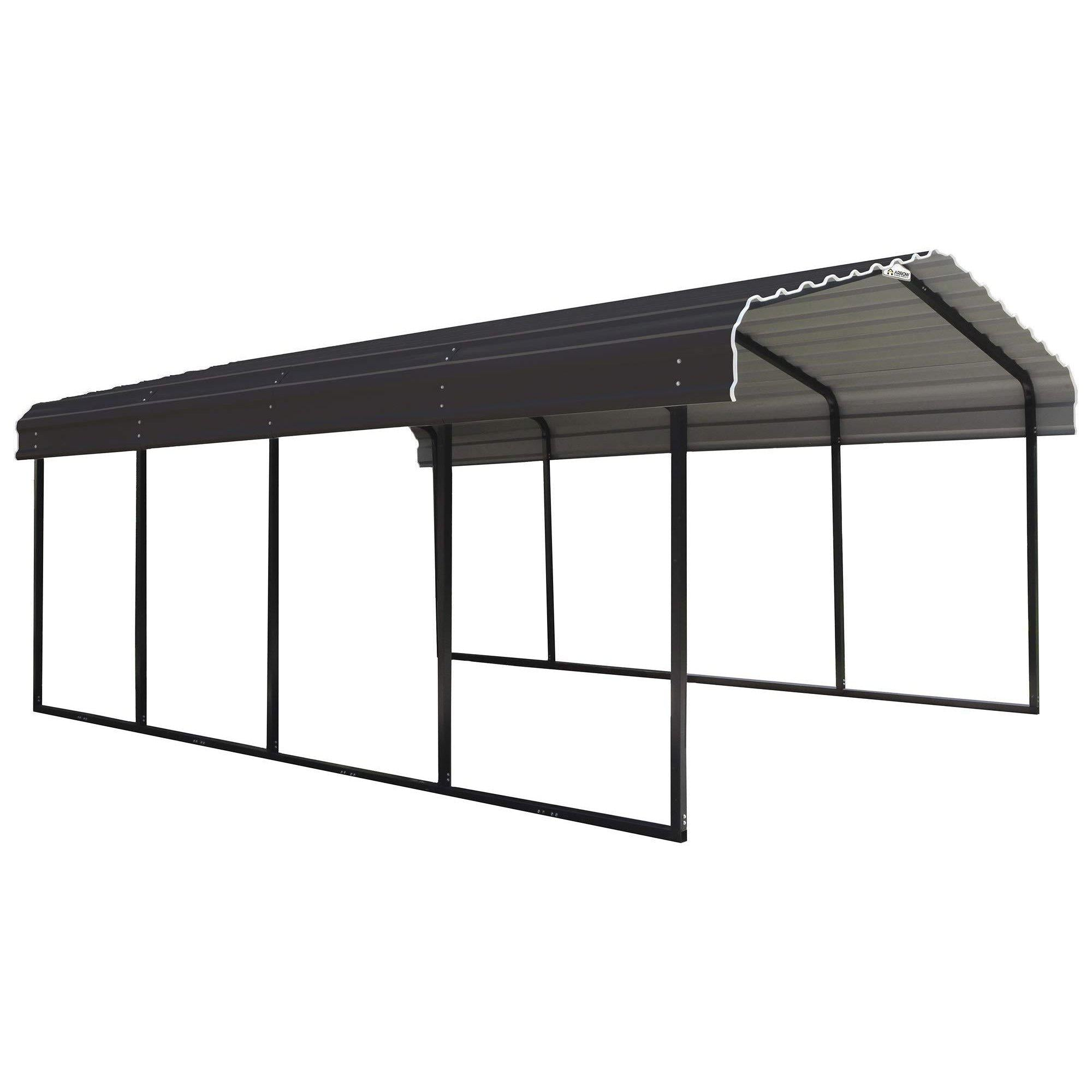 Arrow 12 x 24 x 7-Foot Heavy Duty Galvanized Steel Metal Multi-Use Shelter, Shade, Carport, 12' x 24' x 7'