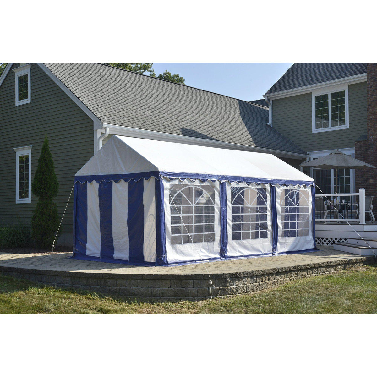 ShelterLogic Party Tent with Enclosure Kit, Blue/White, 10 x 20 ft.