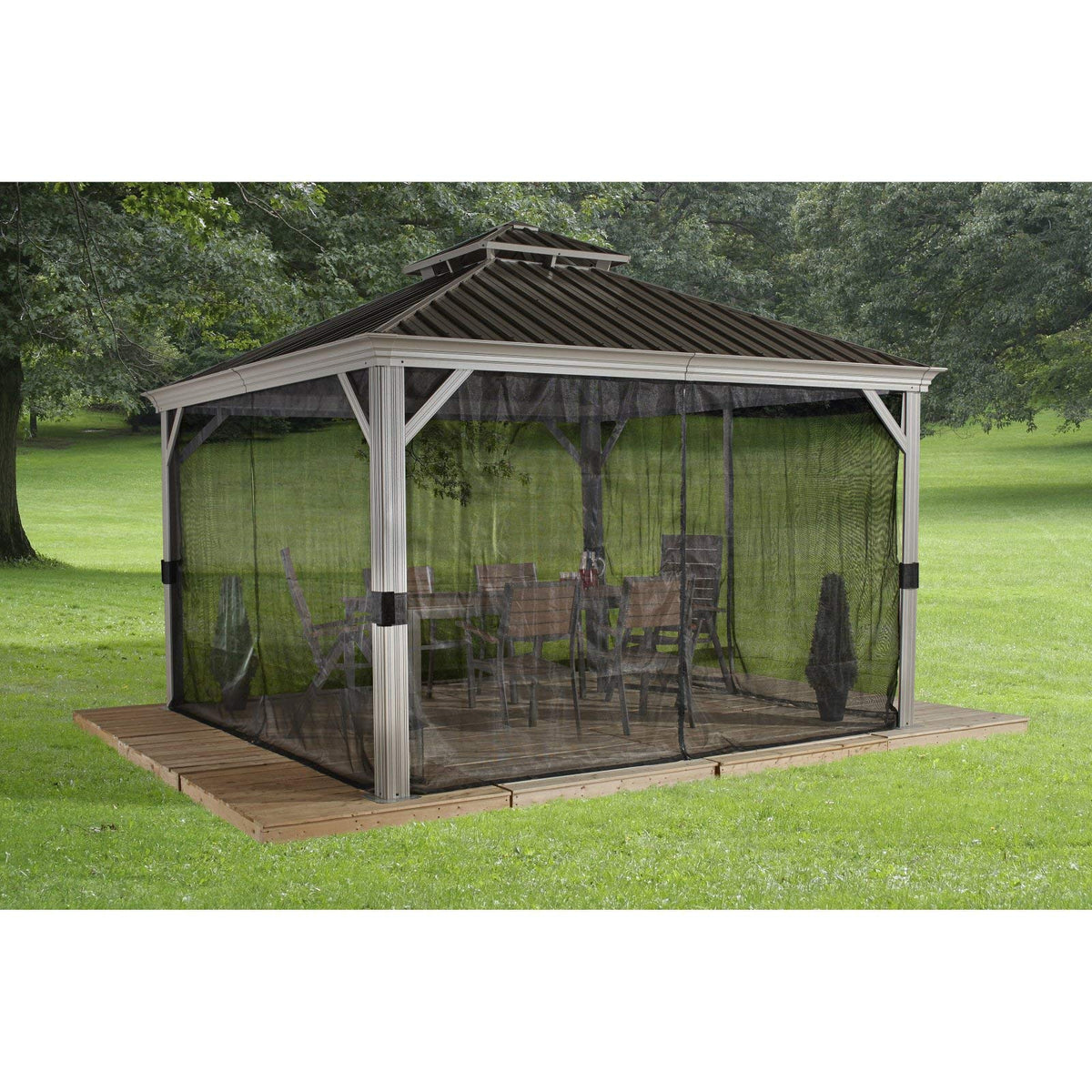 Messina # 43L Sun Shelter 12'x12 'Galvanized Steel roof, mesh Screen