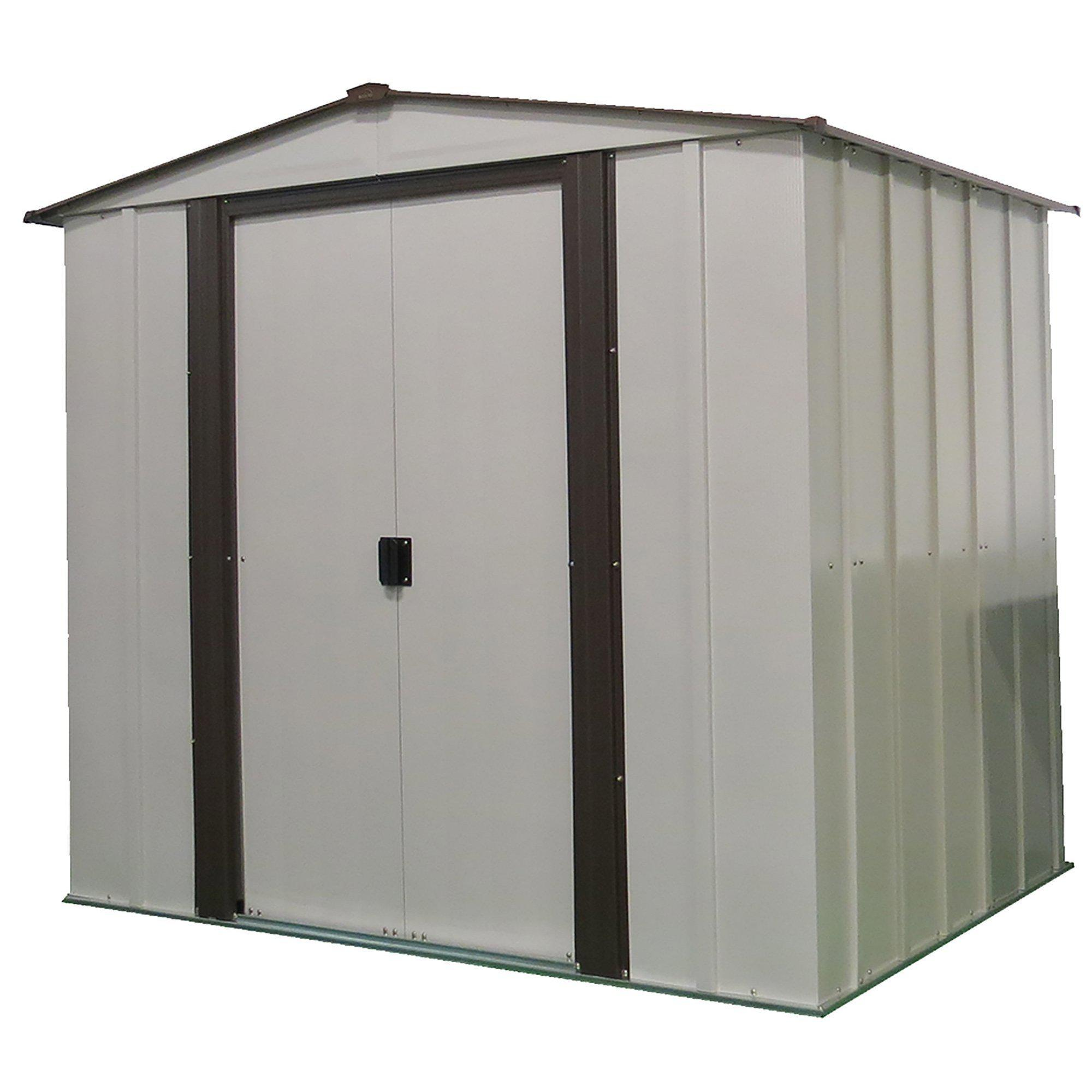 Arrow Newburgh Low Gable Steel Storage Shed, Coffee/Eggshell, 6 x 5 ft.