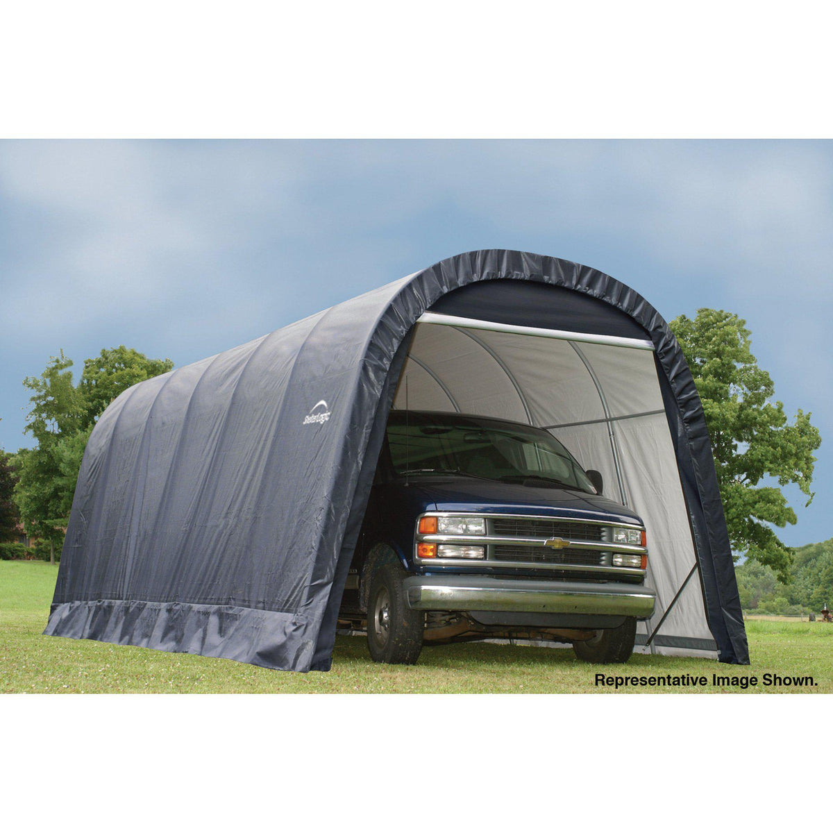ShelterLogic 12-Ft.W Round-Style Instant Garage - 28ft.L x 12ft.W x 10ft.H, 1 5/8in. Frame, Grey, Model# 902233