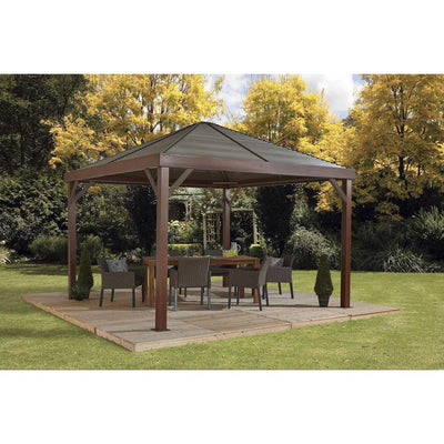 Sojag South Beach Hardtop Gazebo in Wood Finish and Taupe Panels - 12 x 12 Ft