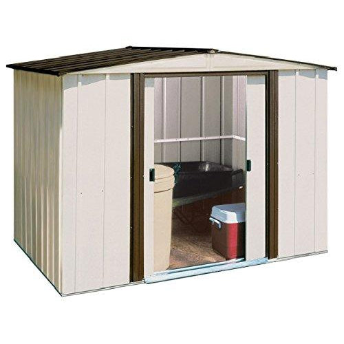 Arrow Newburgh Low Gable Steel Storage Shed, Coffee/Eggshell, 8 x 6 ft.