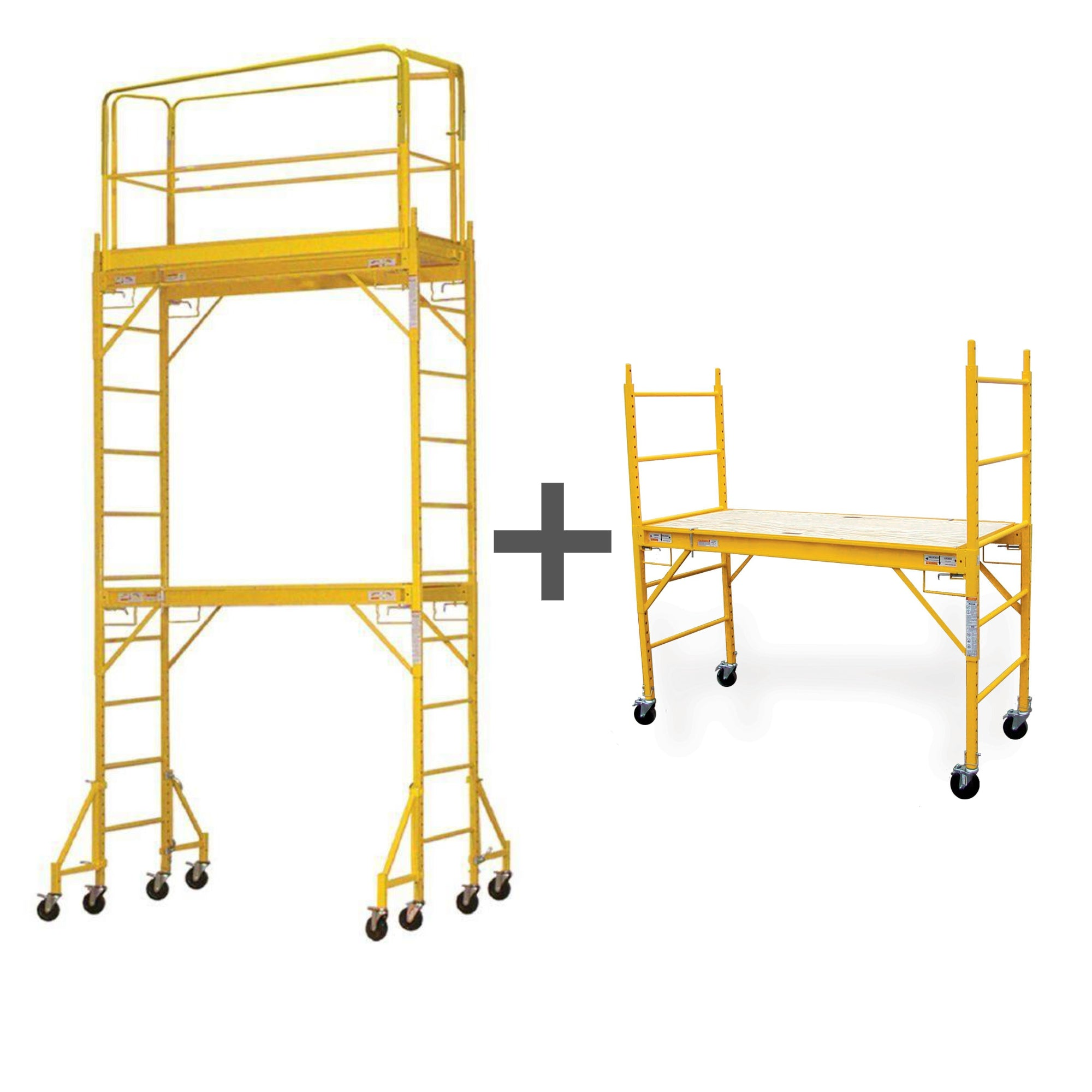 12 Foot Safety Rails with Outriggers + 6 Foot Scaffold