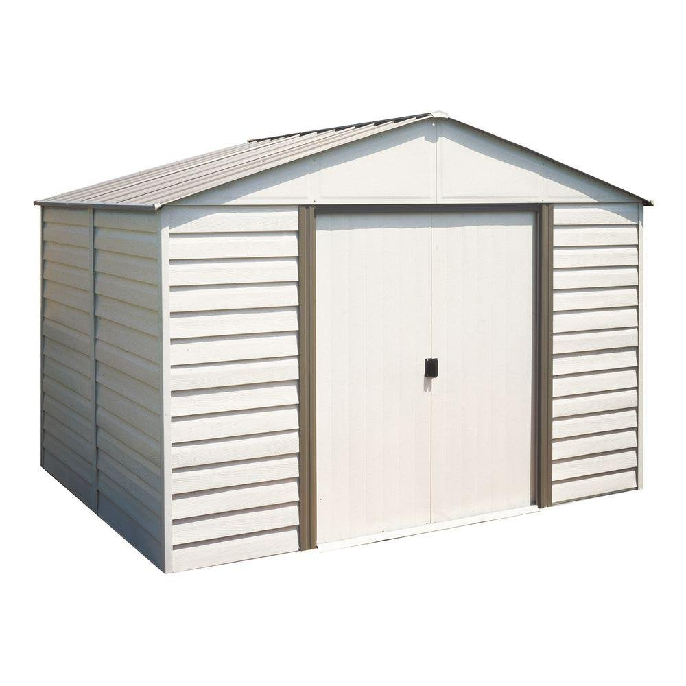 Arrow Vinyl Milford High Gable Steel Storage Shed, Grey Bark/Almond, 10 x 12 ft.