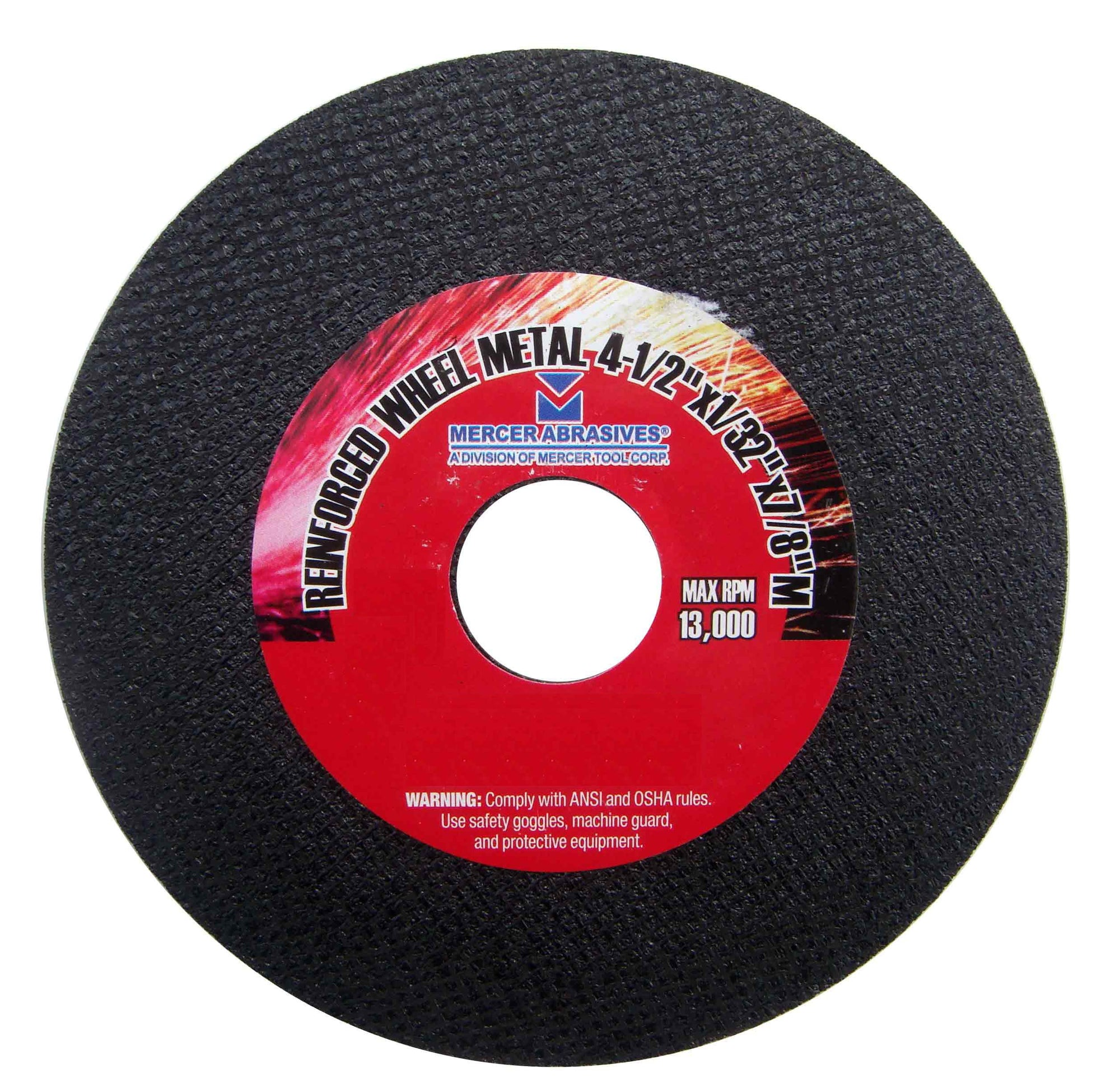 Mercer Abrasives 615060-20 Small Diameter High Speed Fully Reinforced Cut-Off Wheels 4-1/2-Inch by 1/8-Inch by 7/8-Inch C, 20-Pack