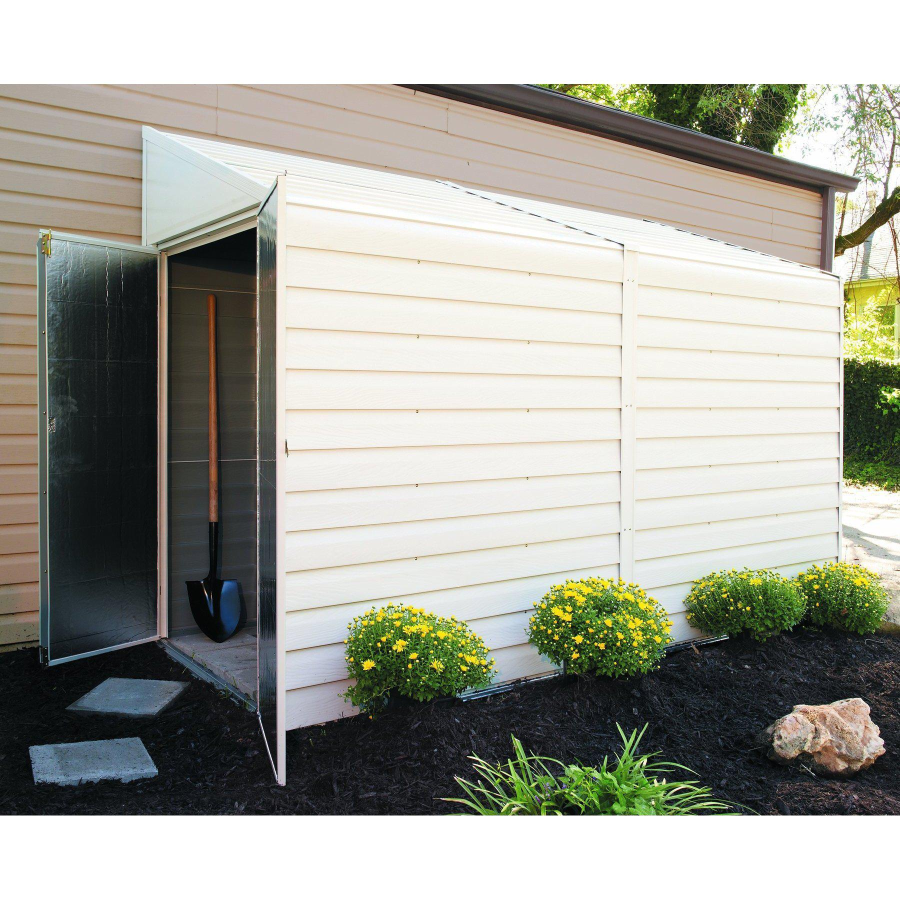 Arrow Yardsaver Pent Roof Steel Storage Shed, Eggshell, 4 x 10 ft.