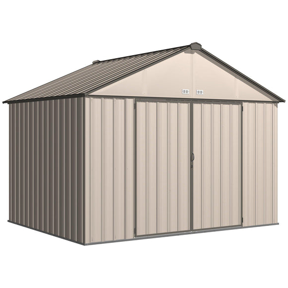 Arrow EZEE Shed Extra High Gable Steel Storage Shed, Cream/Charcoal Trim, 10 x 8 ft.