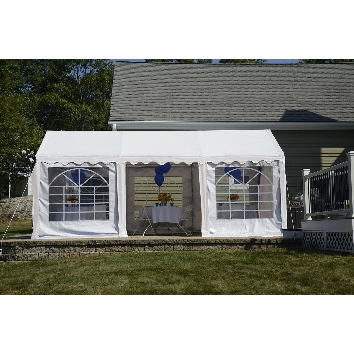 ShelterLogic Enclosure Kit with Windows, White, 10 x 20 ft. (Party Tent Cover and Frame Sold Separately)