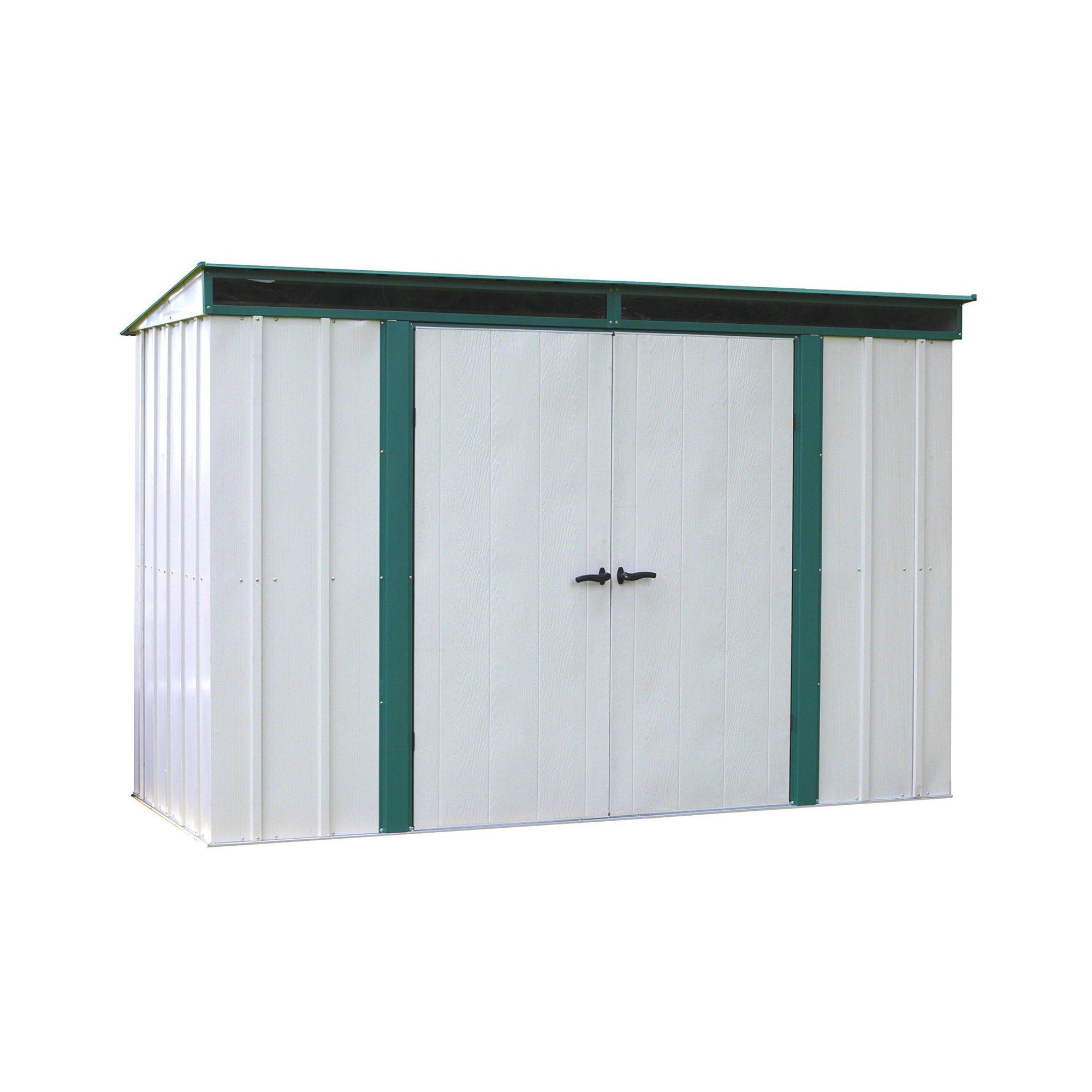 Arrow ELPHD104 Euro-Lite Steel Storage Pent Shed Green/Eggshell, 10' x 4', Meadow Green/Eggshell