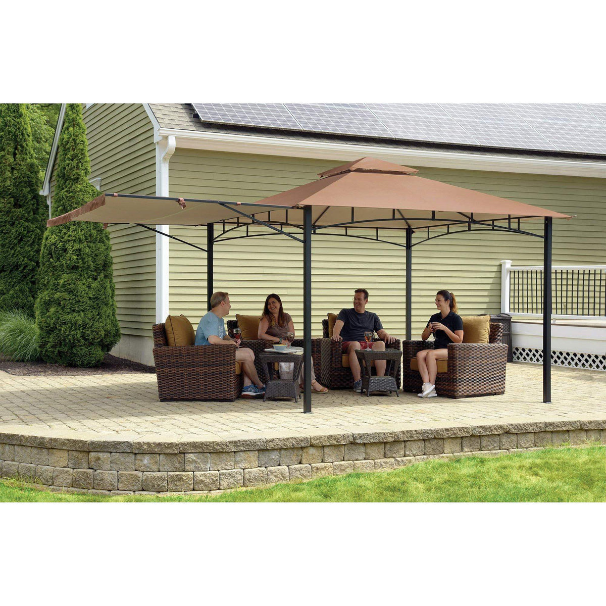 ShelterLogic Canopy Series Redwood 11 x 11-Foot Easy Assembly Seasonal Shade UV Protection with Extendable Awning Outdoor Gazebo, x 11'