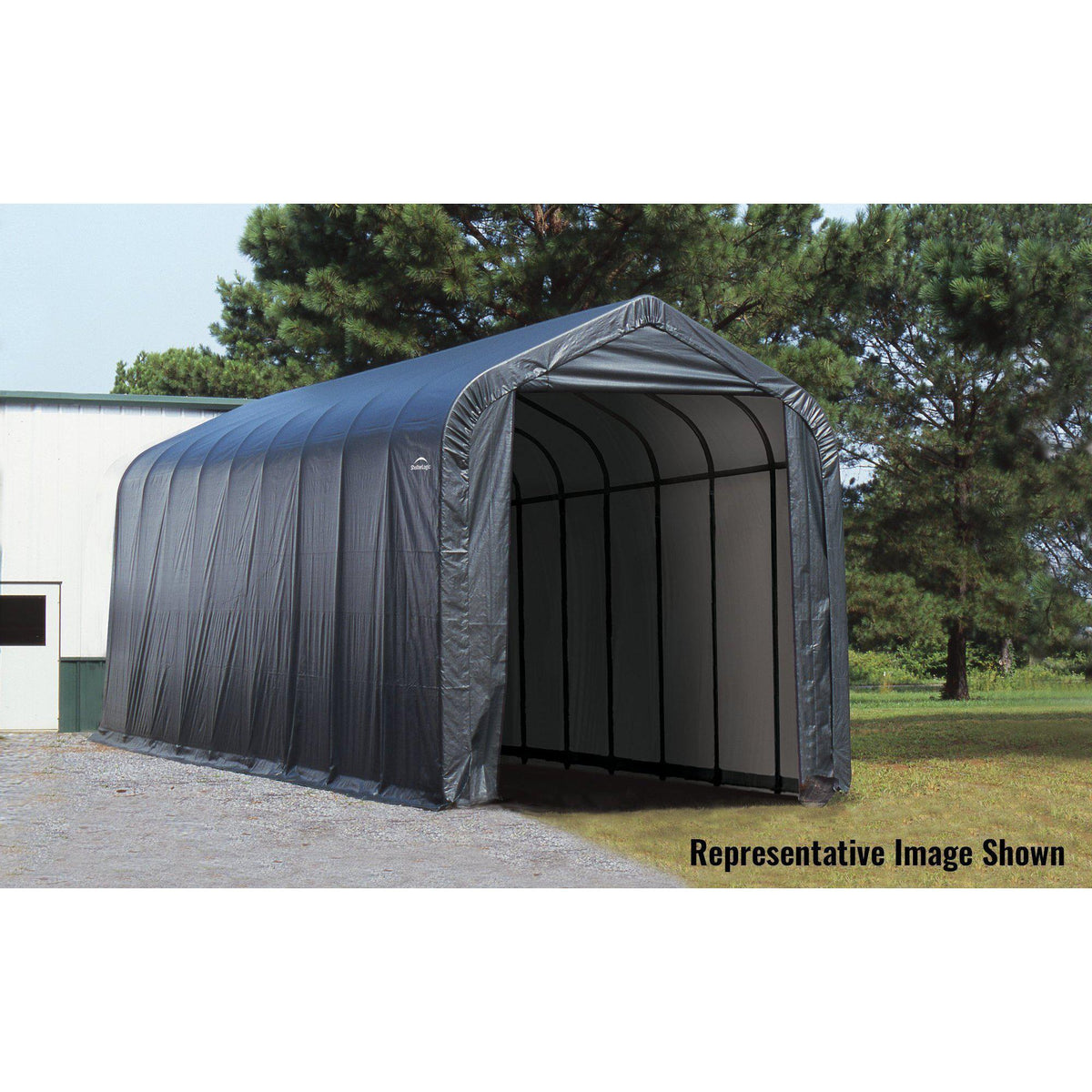 ShelterLogic Garage 15 x 28 x 12 Peak Standard Grey