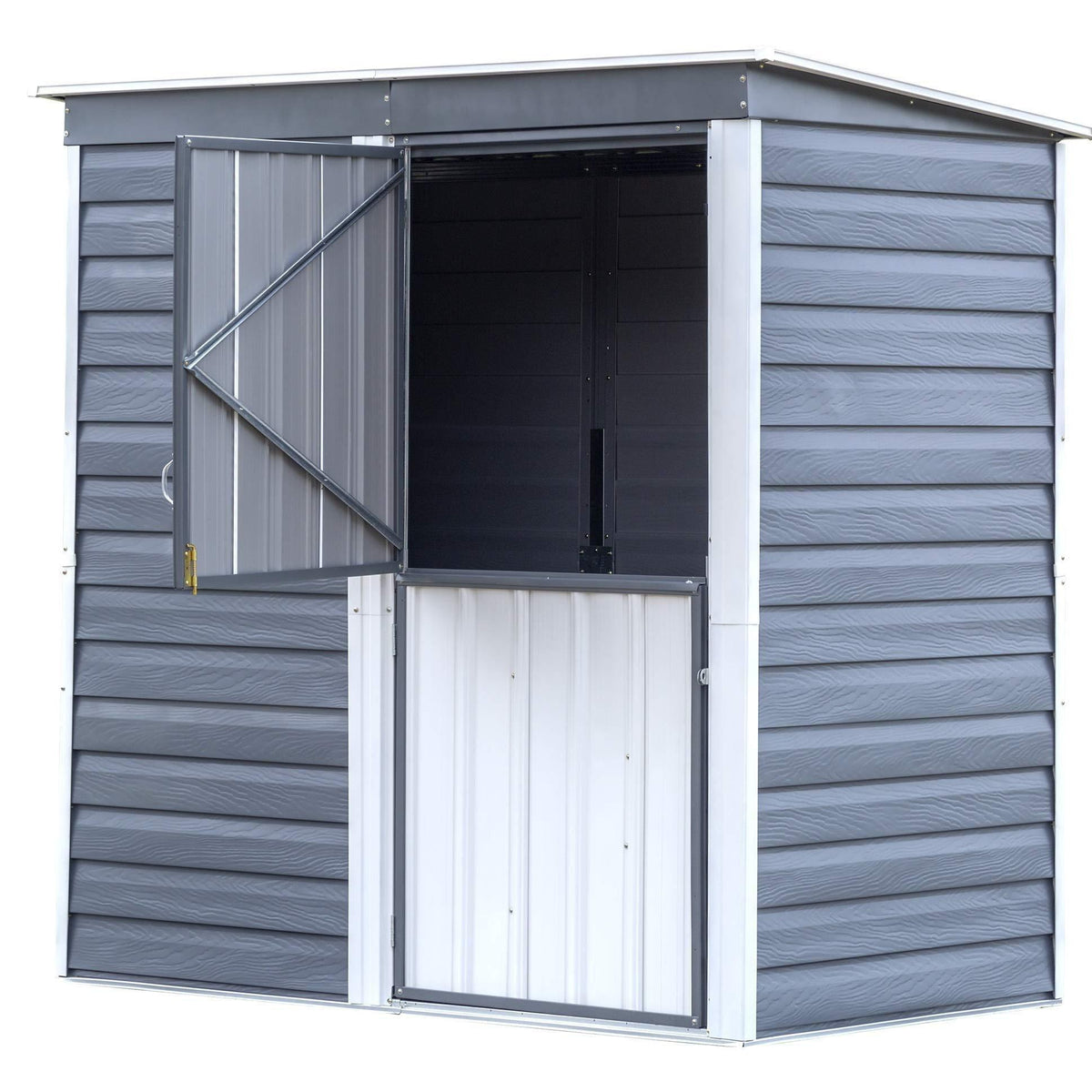 Arrow SBS64 Shed-in-a-Box Compact Galvanized Steel Storage Shed with Pent Roof, 6'x4', Charcoal