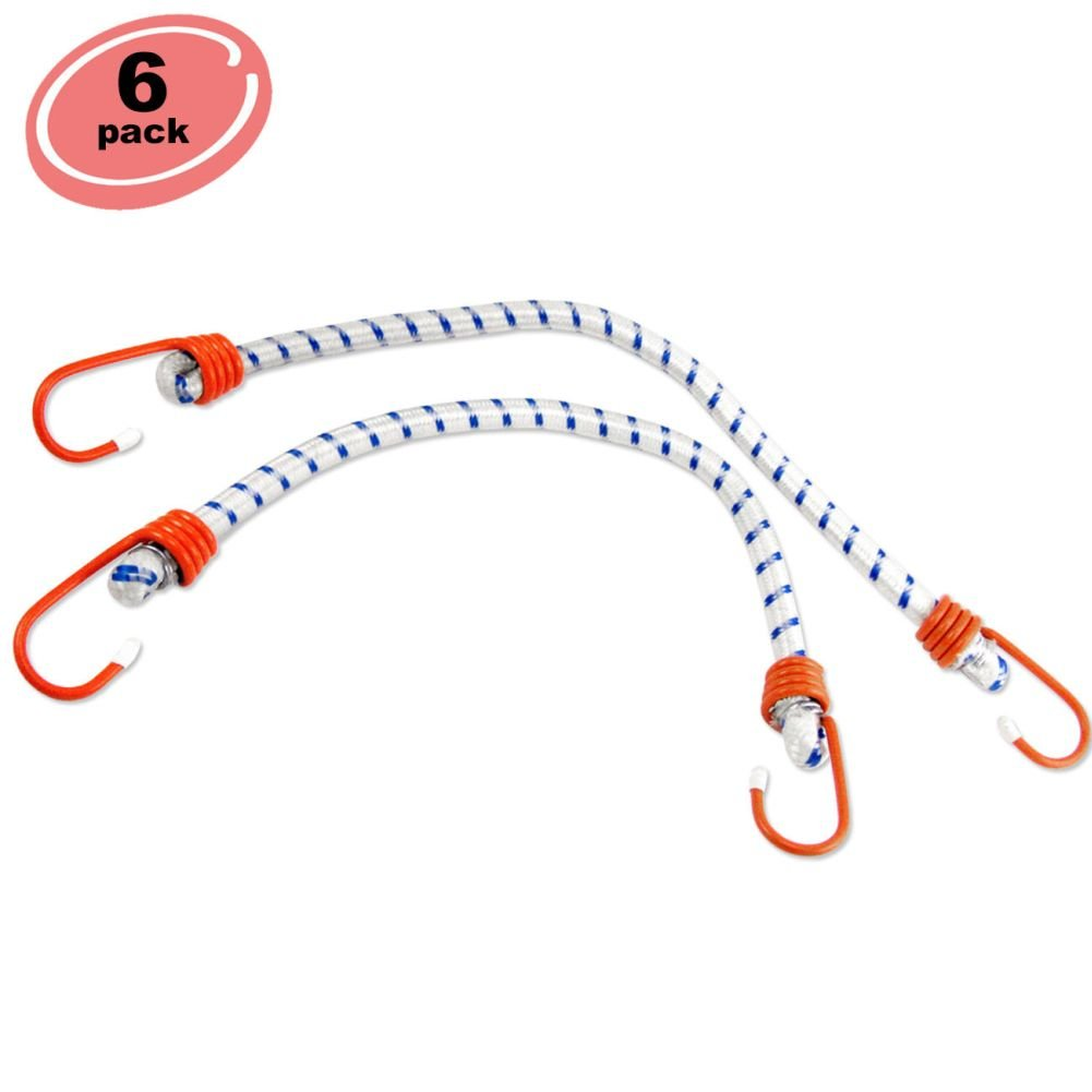 "6pc Elastic Bungee Cord 72"" inch Heavy Duty Straps 2 Heat Treated Hooks Tarp Tie Down Set Stretch"
