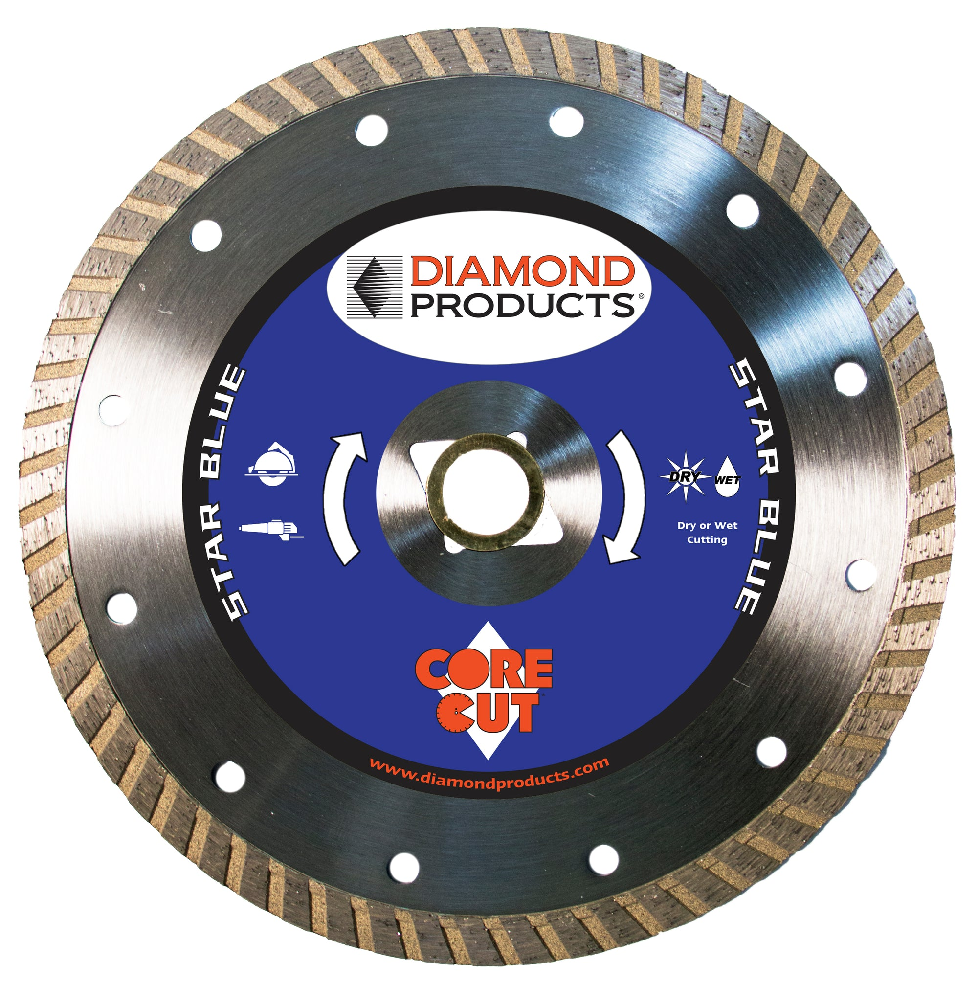 "7"" x .095"" x <> 7/8"" Star Blue Turbo Blade with diamond arbor and 7/8"" (removable) bushing"