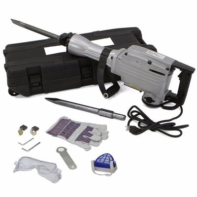 Electric Demolition Jack Hammer with Point and Flat Chisel Bits | Includes 4 Extra Carbon Brushes and Safety Protection Kit