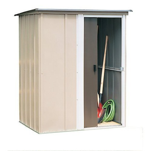 Arrow Brentwood Pent Roof Steel Storage Shed, Coffee/Taupe/Eggshell, 5 x 4 ft.