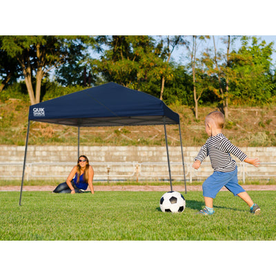 Quik Shade 10' x 10' Weekender Elite Slant Leg Outdoor Tent Instant Canopy with 81 Square Feet of Shade for 6-8 People Green
